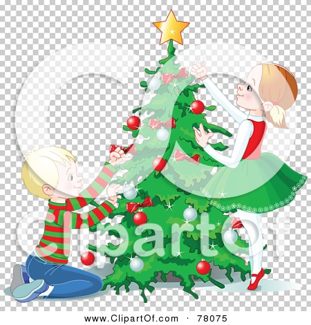 Christmas Tree Trimming Clip Art