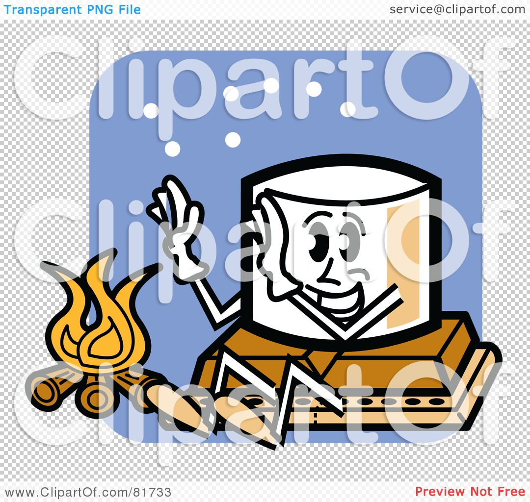 Royalty-Free (RF) Clipart Illustration Of A Happy Marshmallow Sitting On Top Of Chocolate And A