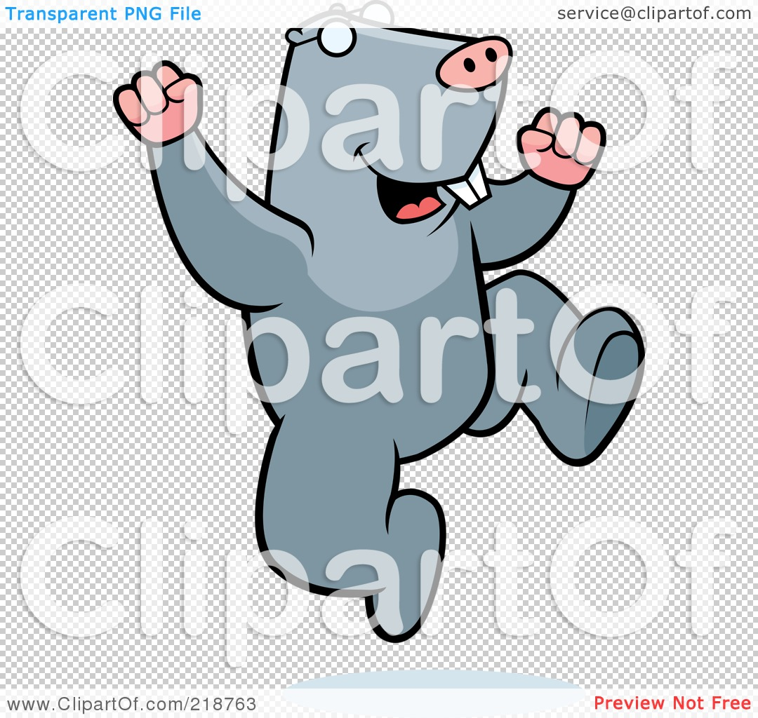 Royalty-Free (RF) Clipart Illustration of a Happy Mole Jumping by ...