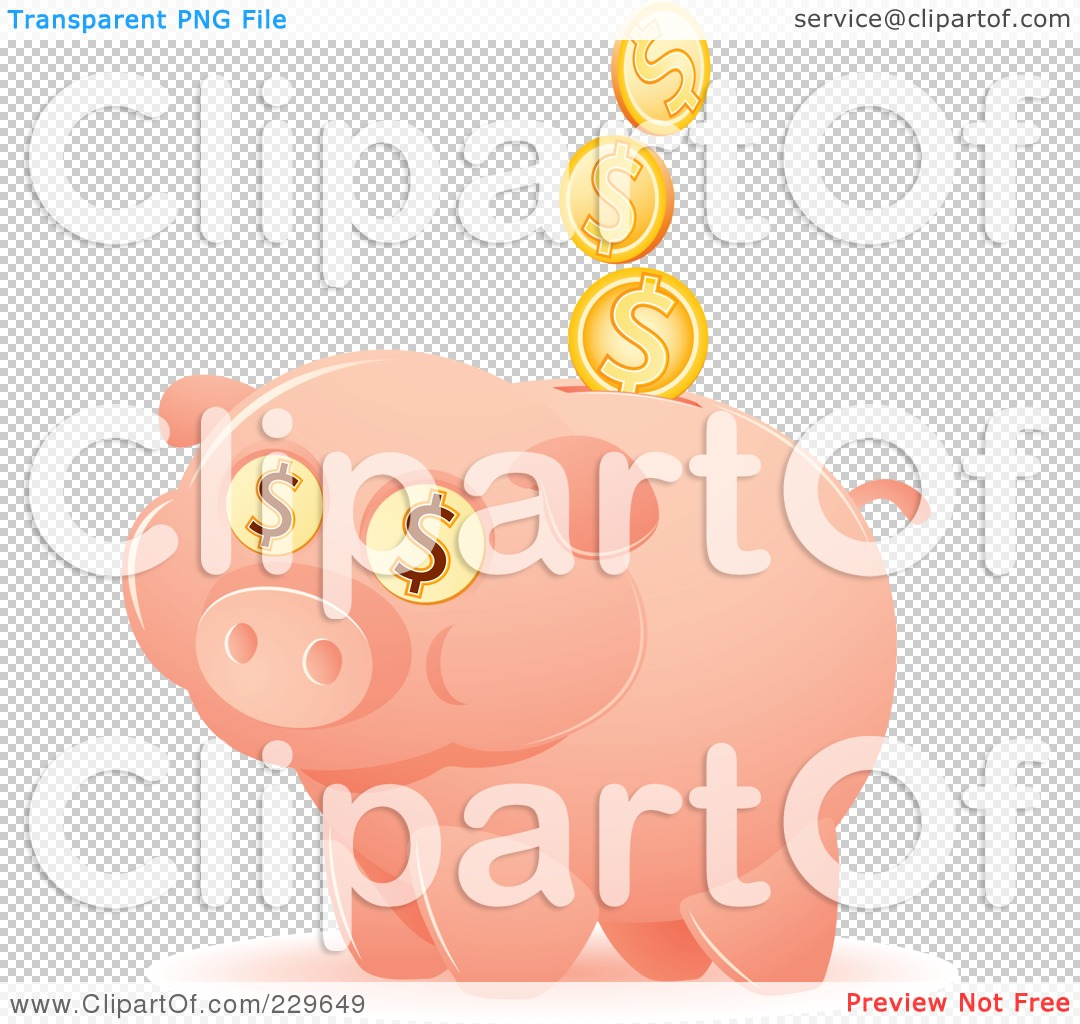 -Free (RF) Clipart Illustration of a Happy Piggy Bank With Coins