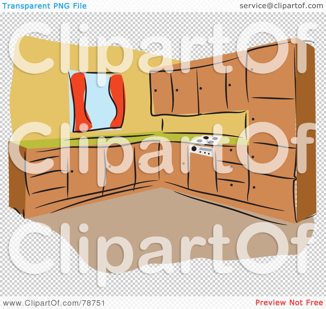 Kitchen Cabinet Clip Art: Royalty-Free (RF) Clipart Illustration Of A Kitchen With