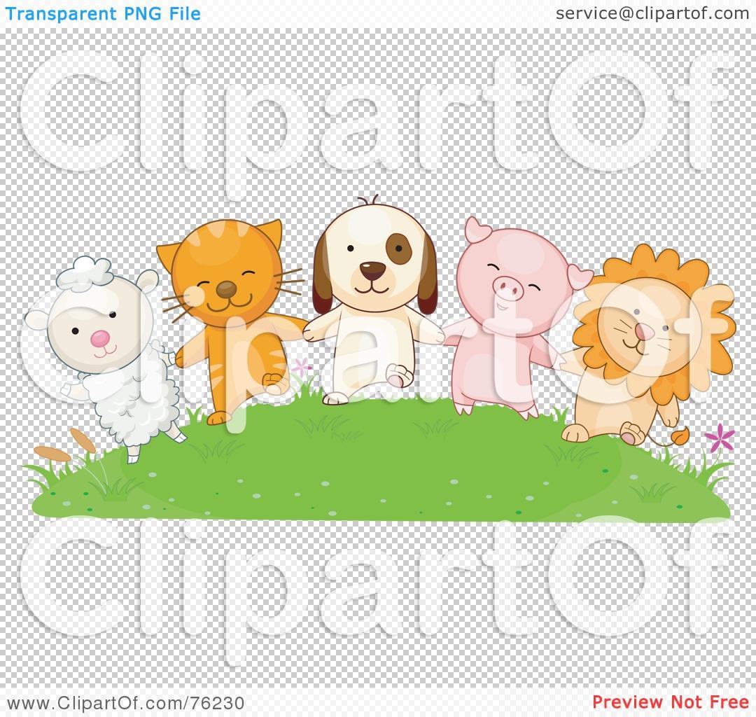 royalty free rf clipart illustration of a lamb cat dog pig