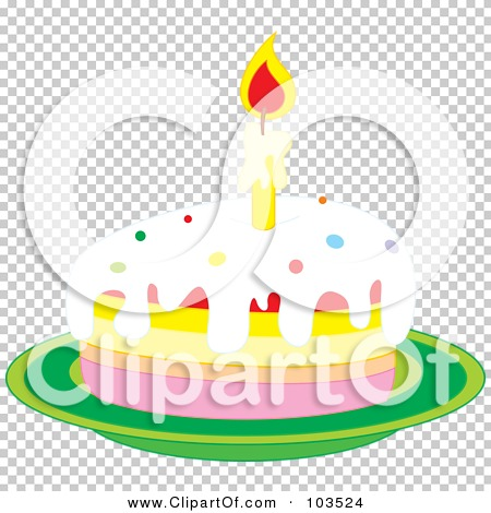 Clipart Slice Of Cake On A Plate : Royalty-Free (RF) Clipart Illustration of a Lit Candle On ...