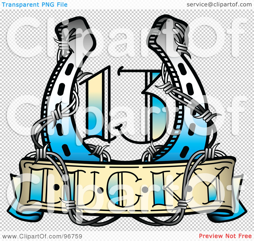 Royalty-Free (RF) Clipart Illustration of a Lucky 13 Horseshoe And ...