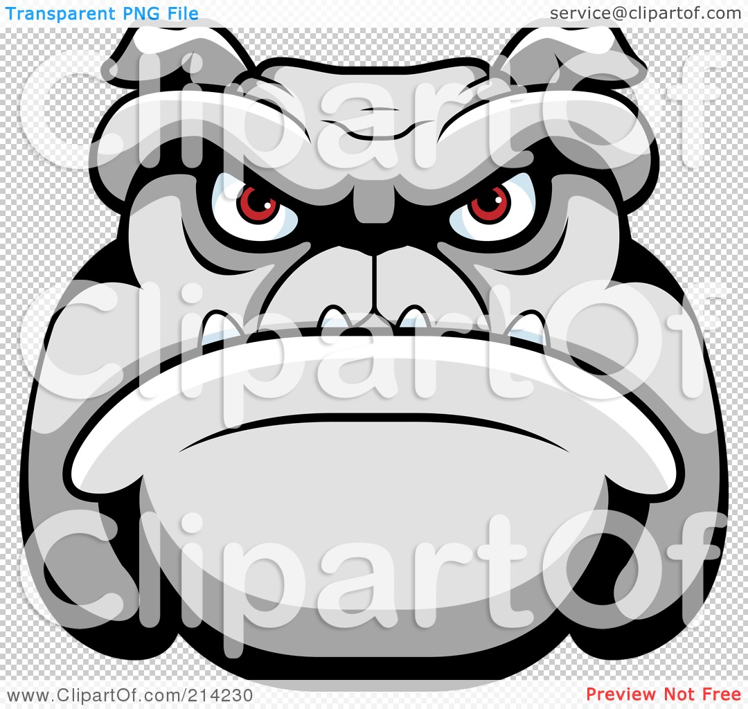 Royalty-Free (RF) Clipart Illustration of a Mean Bulldog Face With ...