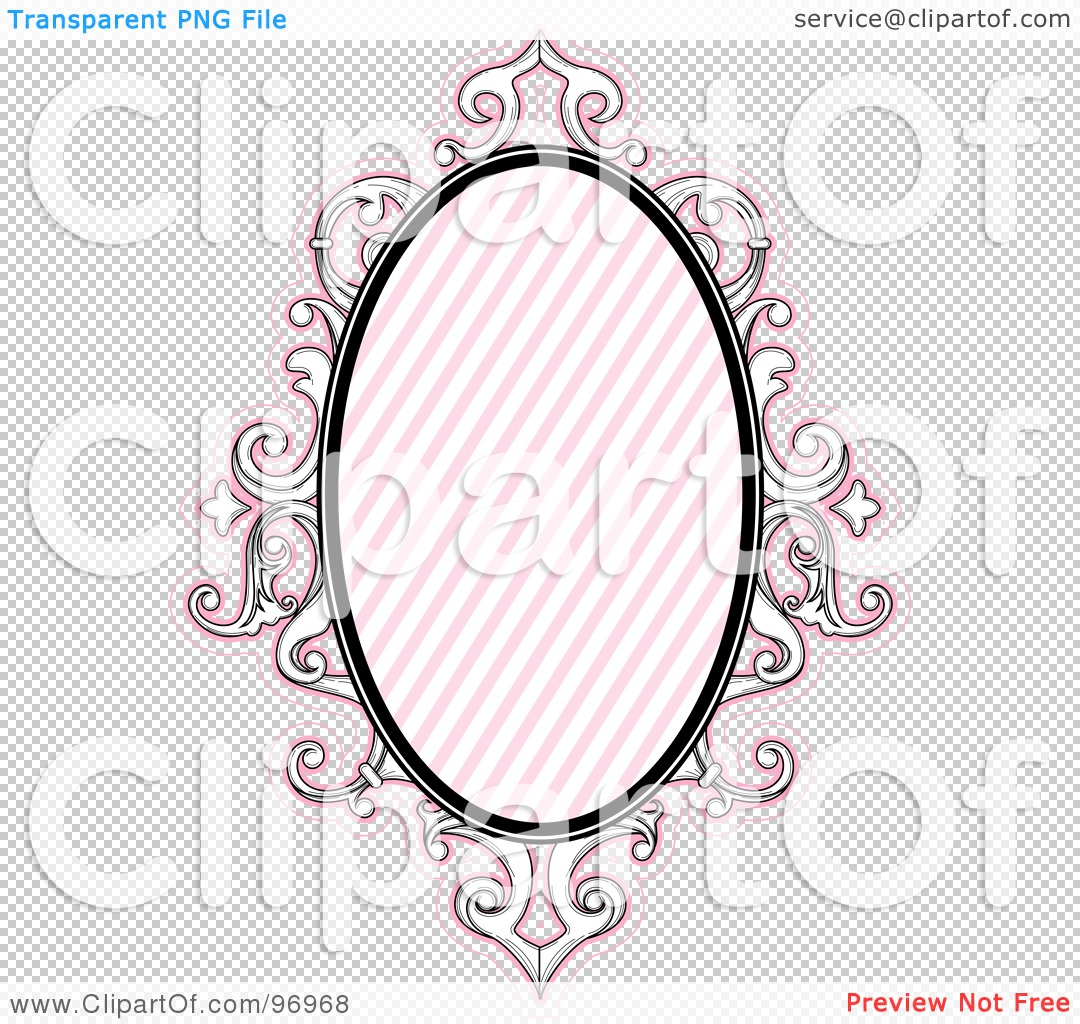 illustration of a pink baroque styled frame with diagonal lines