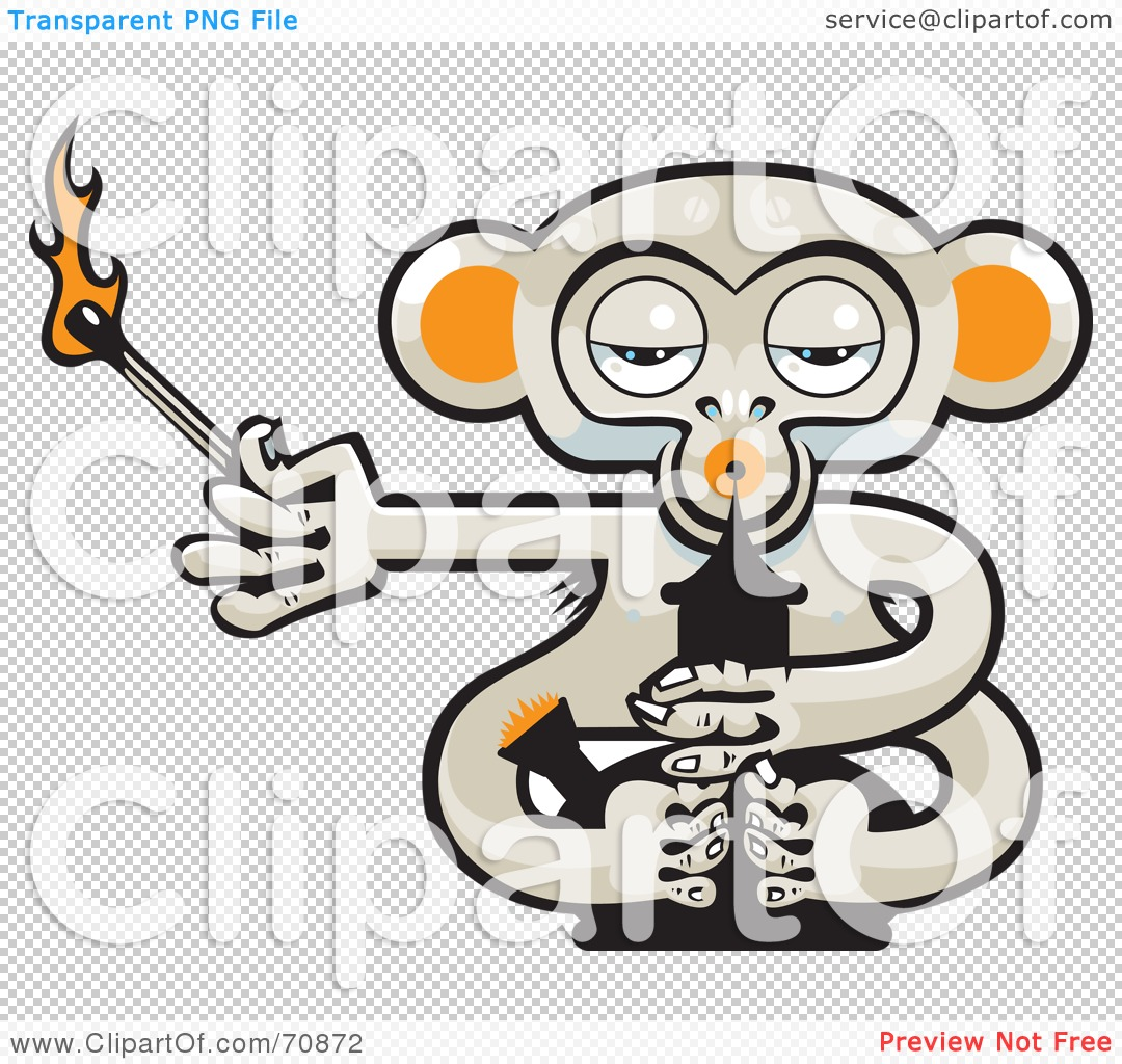 Royalty-Free (RF) Clipart Illustration of a Pot Monkey With A Lit ...