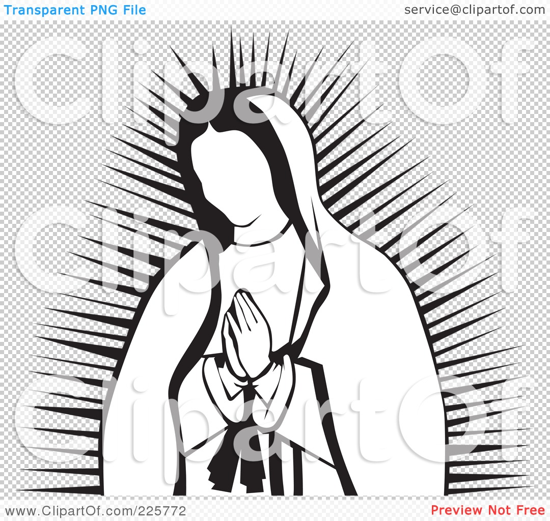Free  RF  Clipart Illustration Of A Praying Virgin Of Guadalupe