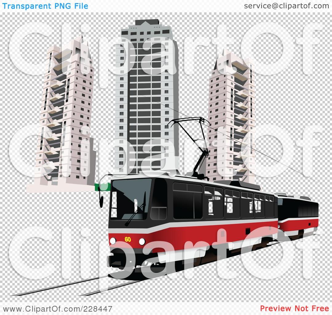 Royalty free rf clipart illustration of a public tram 3