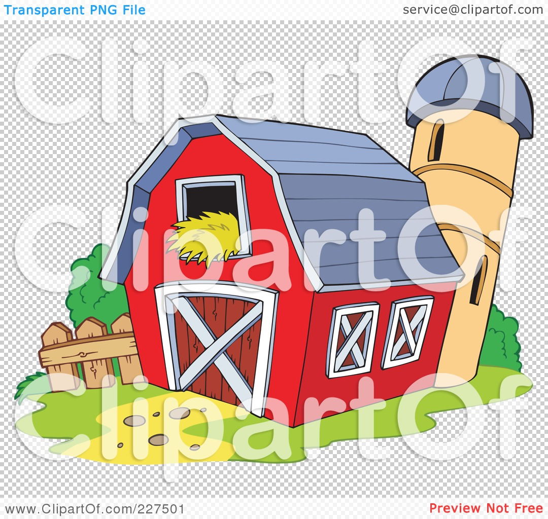 Red Barn Clip Art Transparent royalty-free (rf) clipart illustration of a red barna silo