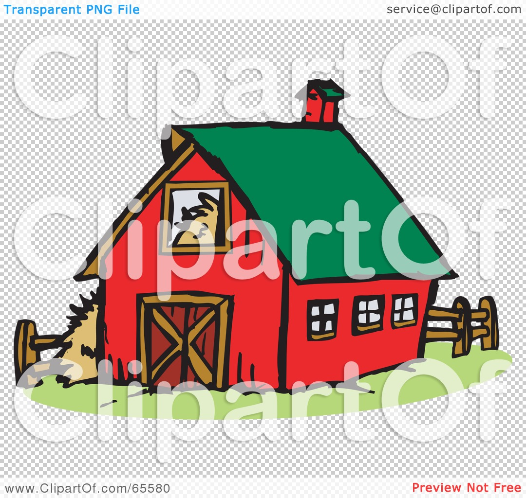 Red Barn Clip Art Transparent royalty-free (rf) clipart illustration of a red farm barn with a