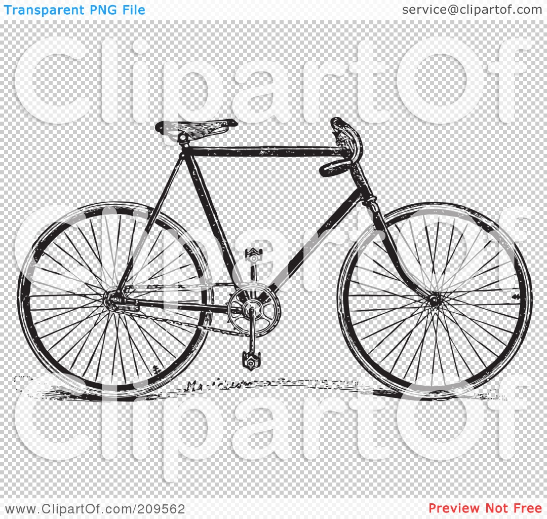 Royalty-Free (RF) Clipart Illustration of a Retro Black And White ... for Bicycle Clipart Black And White  584dqh