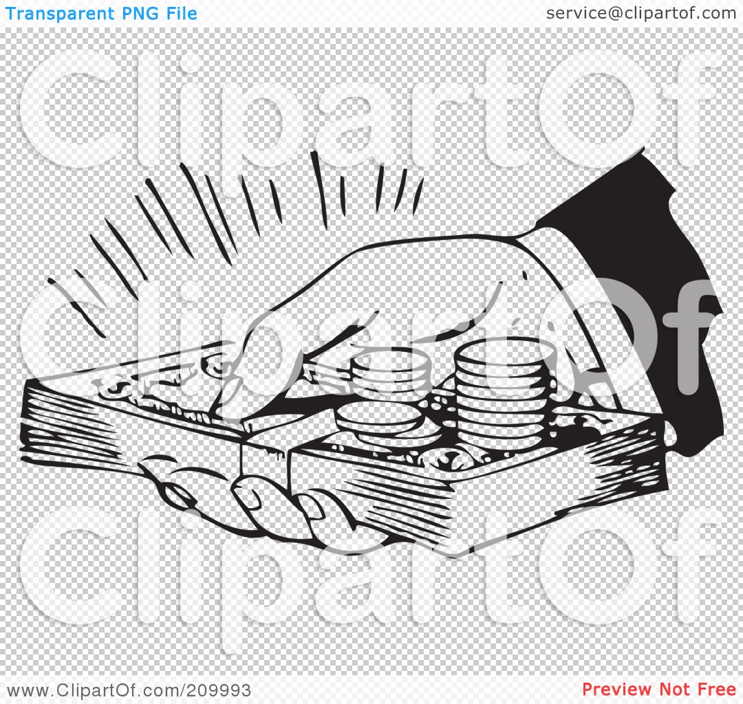 Royalty-Free (RF) Clipart Illustration of a Retro Black And White Hand