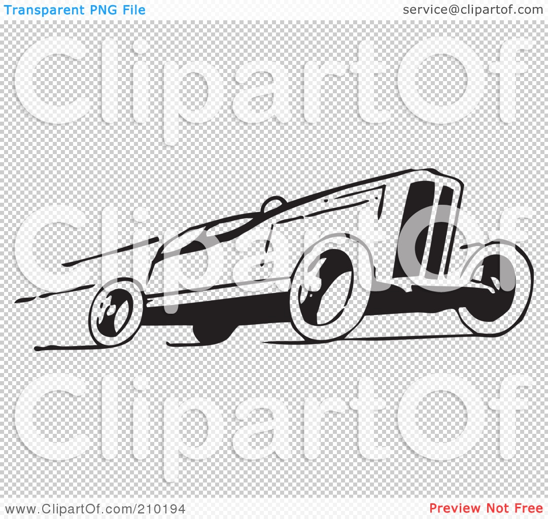 Free RF Clipart Illustration of a Retro Black And White Race Car
