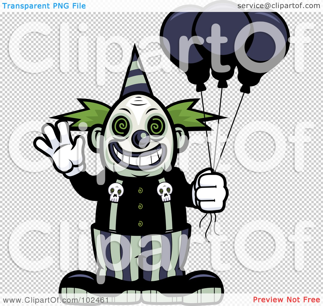 Royalty-Free (RF) Clipart Illustration of a Scary Clown Waving And ...