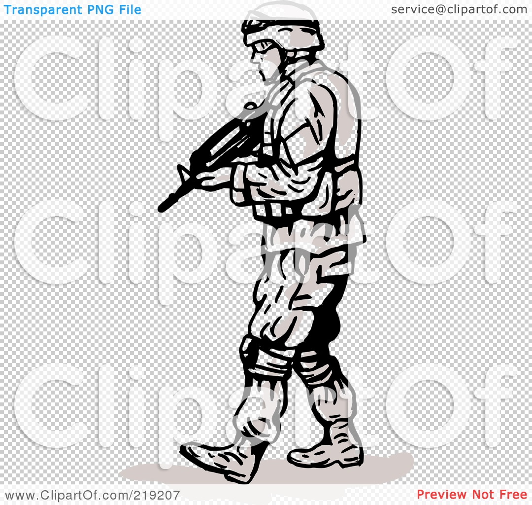 Royalty-Free (RF) Clipart Illustration of a Sketched Soldier Walking ...