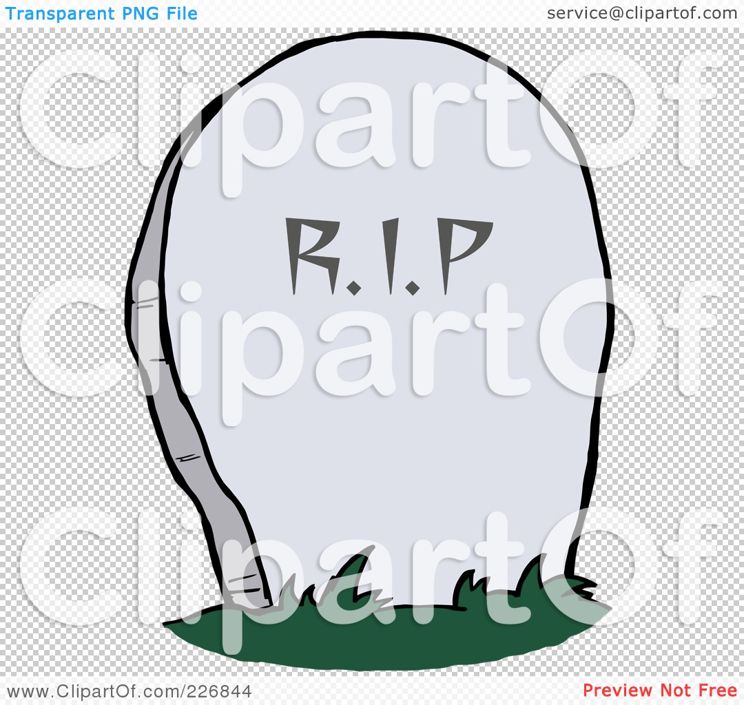 Royalty-Free (RF) Clipart Illustration of a Stone RIP Tombstone In ...