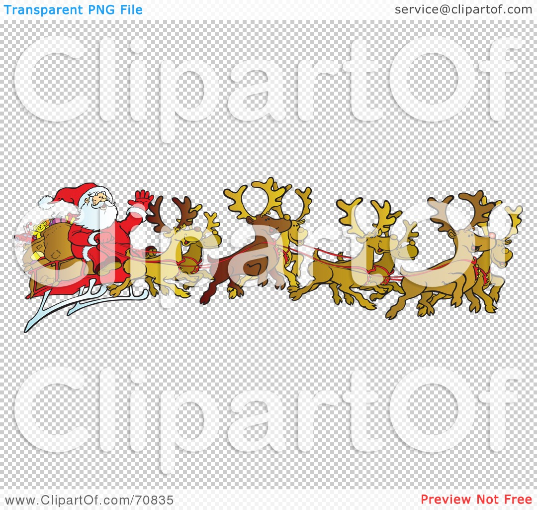 Royalty-Free (RF) Clipart Illustration of a Team Of Eight Reindeer ...