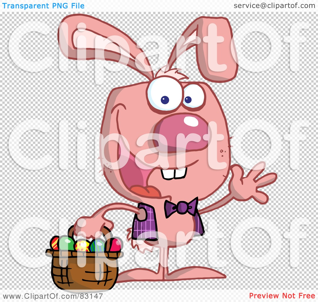 -Free (RF) Clipart Illustration of a Waving Pink Bunny With Easter ...