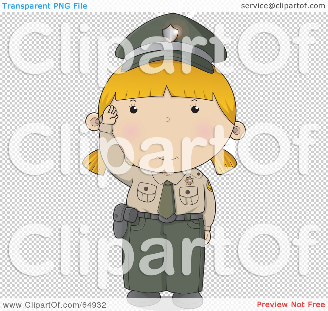 royalty free rf clipart illustration of a waving police woman in