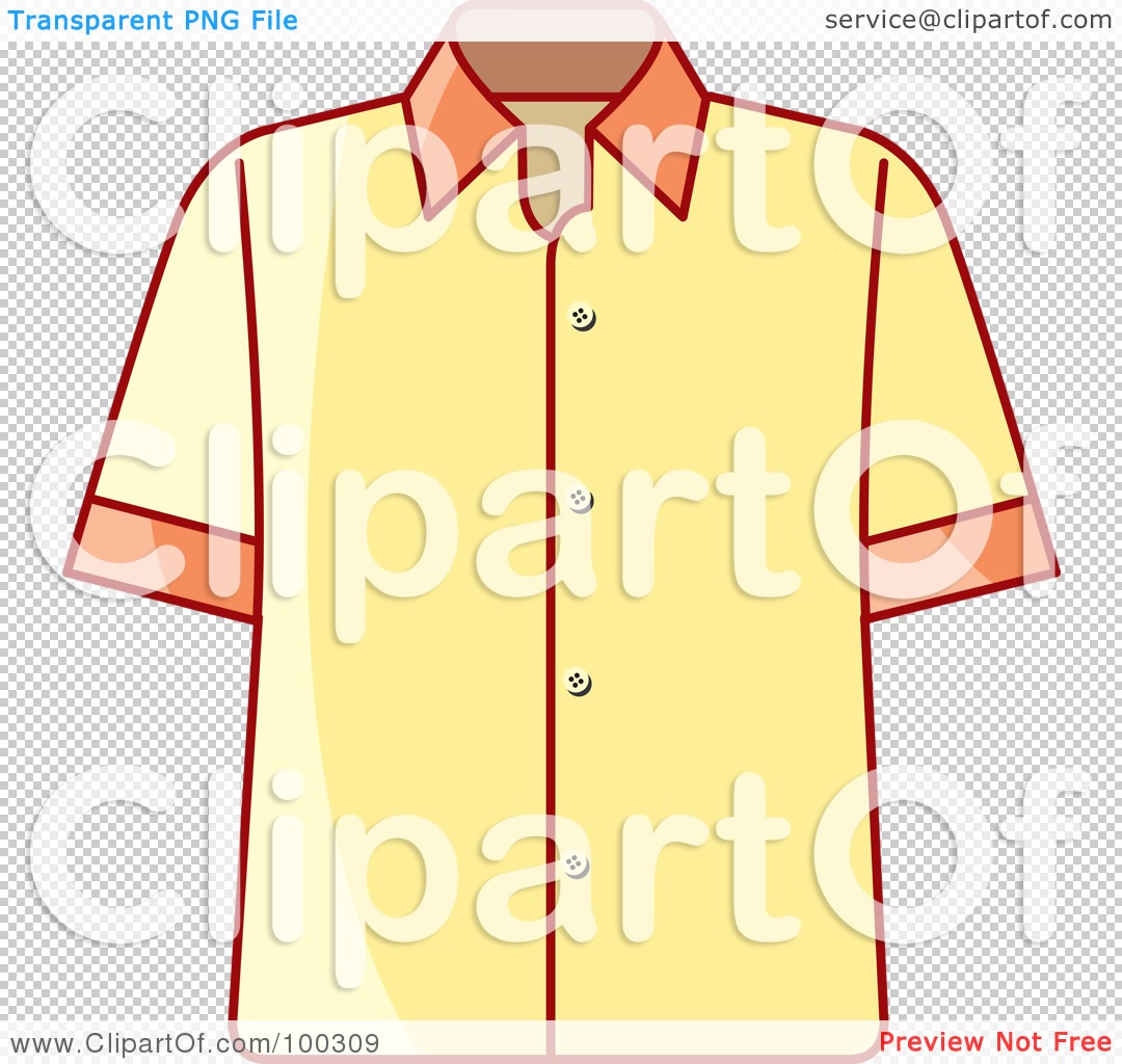 Royalty-Free (RF) Clipart Illustration of a Yellow Button Up Shirt ...