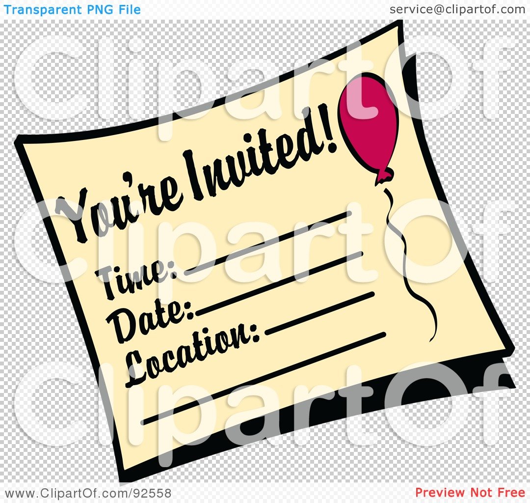 Royalty-Free (RF) Clipart Illustration of a You're Invited ...