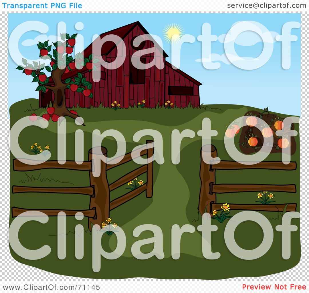 Red Barn Clip Art Transparent royalty-free (rf) clipart illustration of an apple tree and