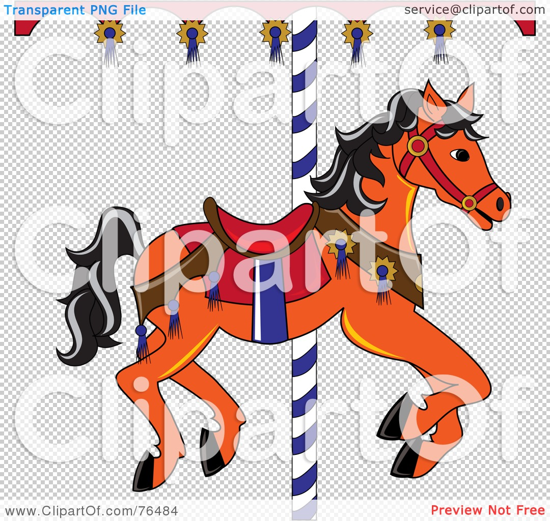 Royalty-Free (RF) Clipart Illustration of an Orange Carousel Horse ...