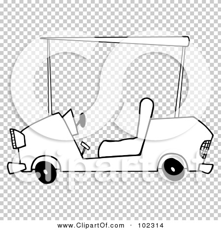 Royalty-Free (RF) Clipart Illustration of an Outlined Golf Cart by ...