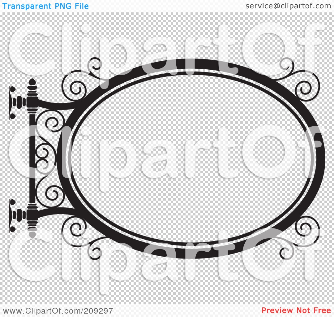 Royalty-Free (RF) Clipart Illustration of an Oval Wrought Iron ...