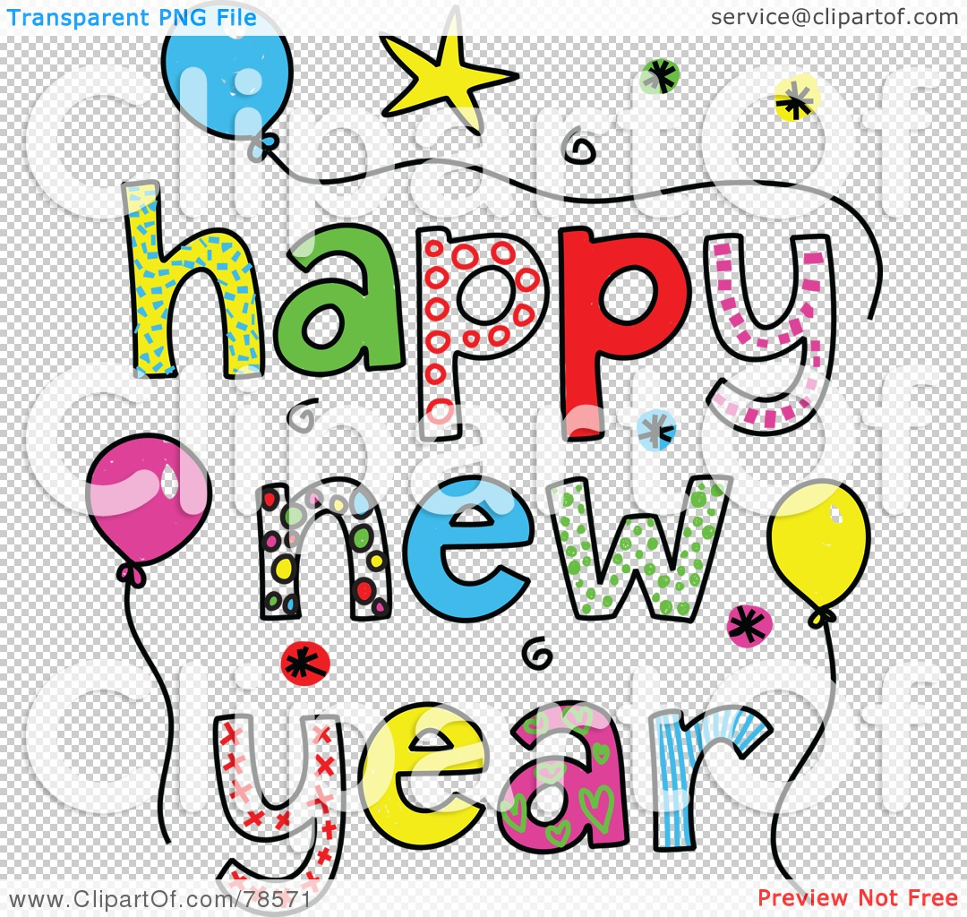 Royalty free rf clipart illustration of colorful happy new year png file has a transparent background voltagebd Images