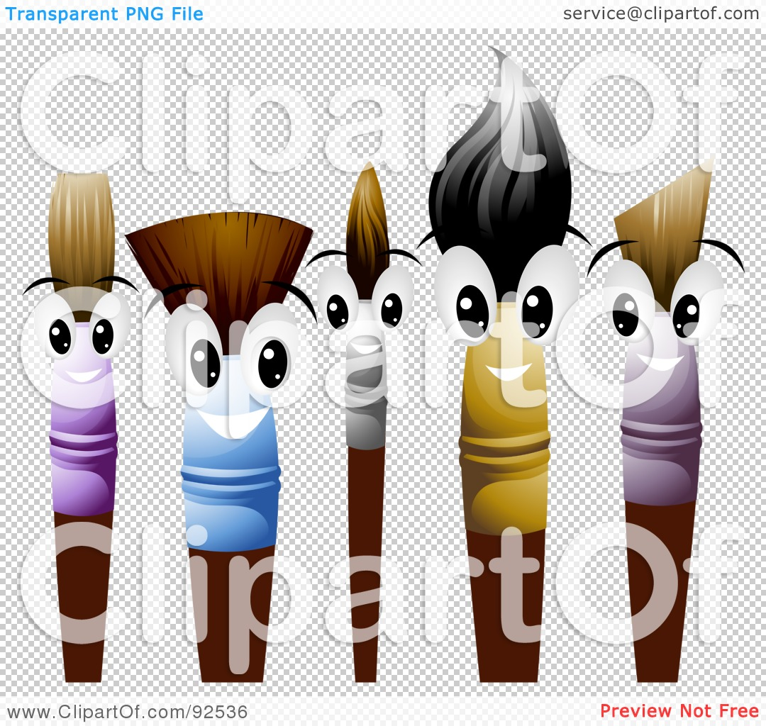 Brushes For Character Design : Royalty free rf clipart illustration of friendly paint