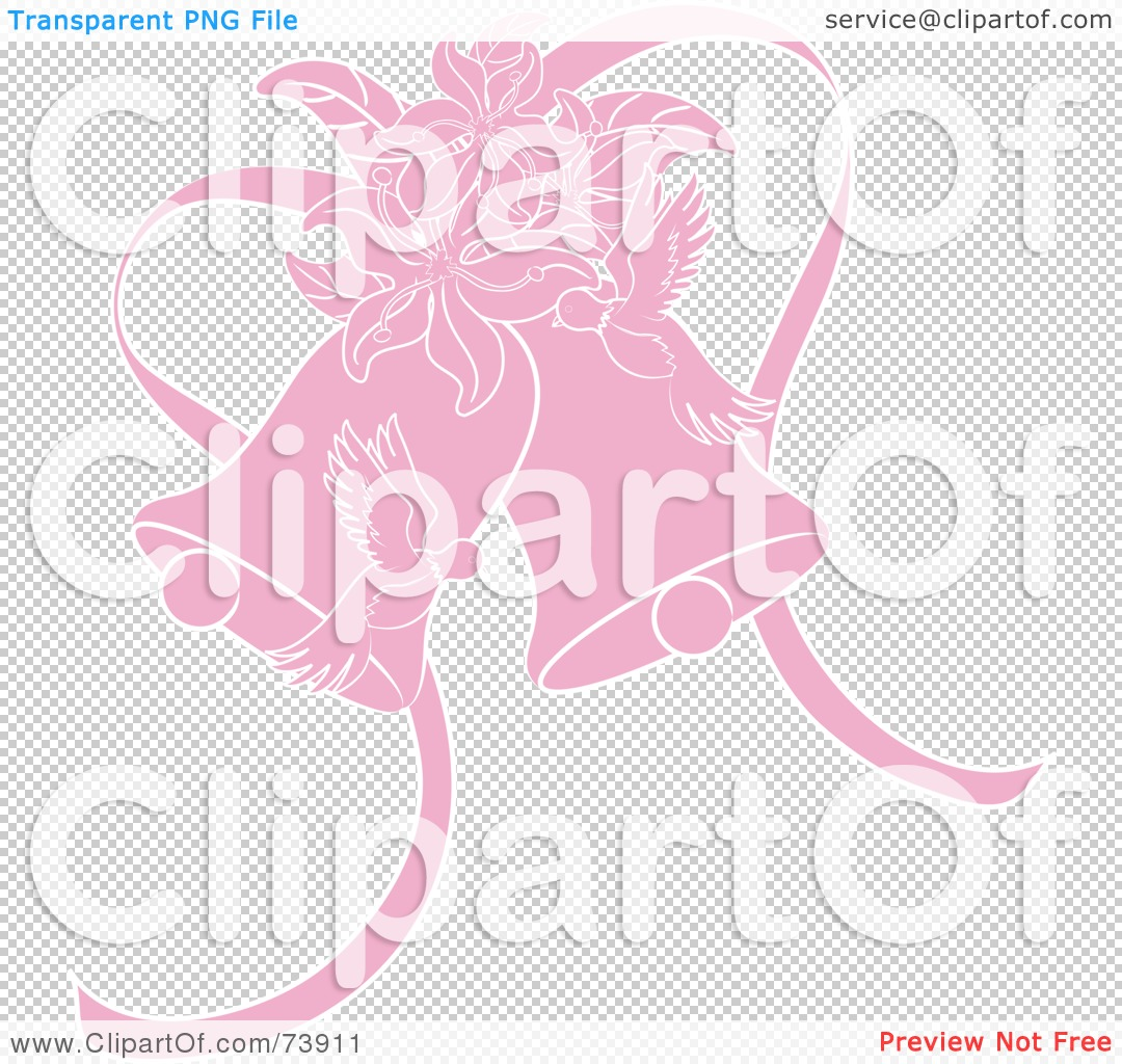 Royalty-Free (RF) Clipart Illustration of Pink Doves, Lilies And ...