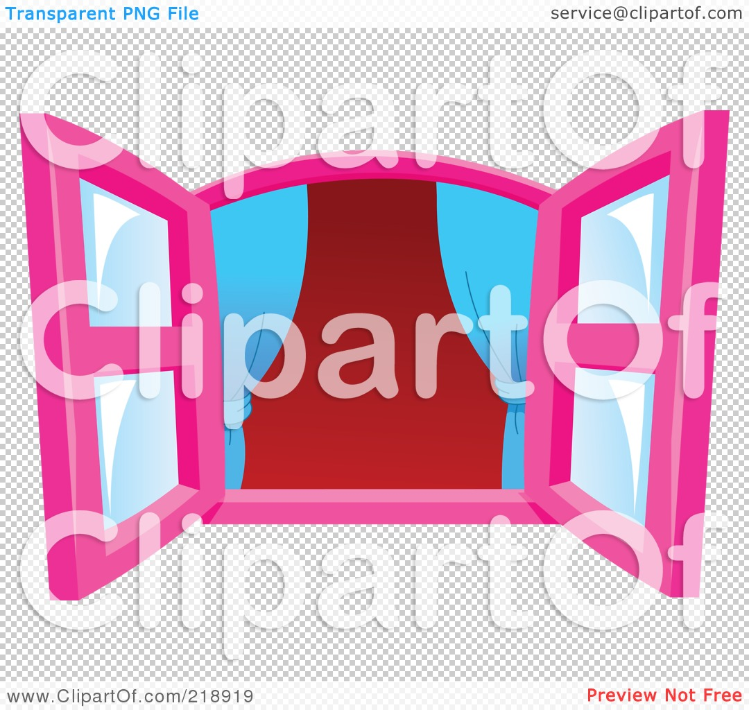 Royalty-Free (RF) Clipart Illustration of Pink Open Windows With ... for Window With Curtains Illustration  285eri