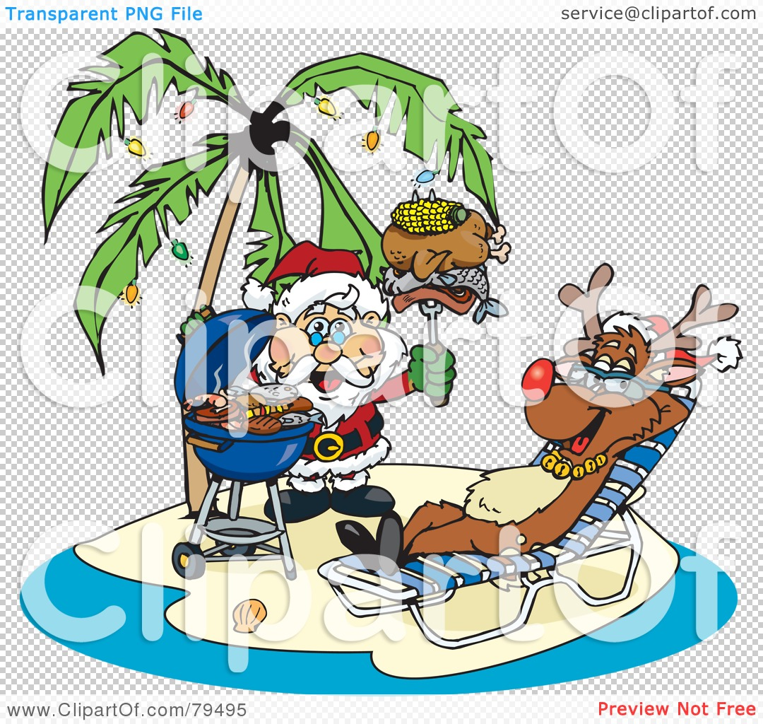 Royalty-Free (RF) Clipart Illustration of Santa Grilling ...