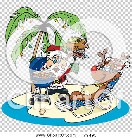 Royalty-Free (RF) Clipart Illustration of Santa Grilling Food For ...