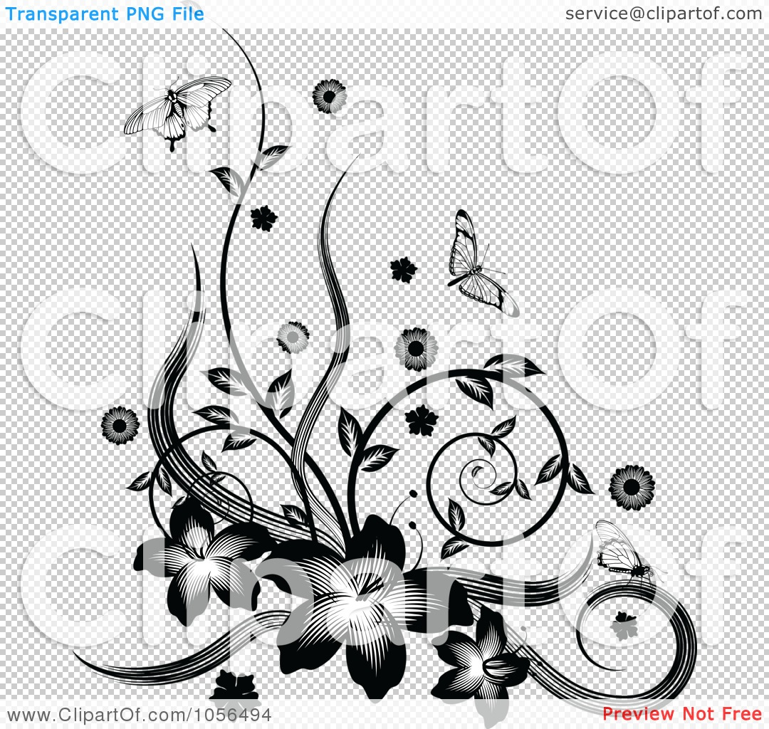 Black Flower And Vines Pattern Royalty Free Stock Image: Royalty-Free Vector Clip Art Illustration Of A Black And