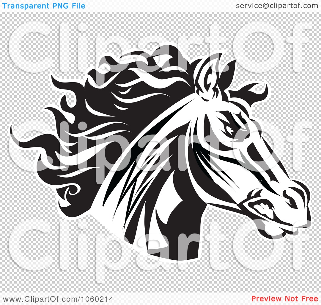 Royalty-Free Vector Clip Art Illustration of a Black And White Horse ...