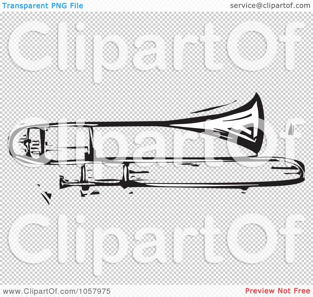 Trombone Tattoo Ideas Woodcut styled trombone,
