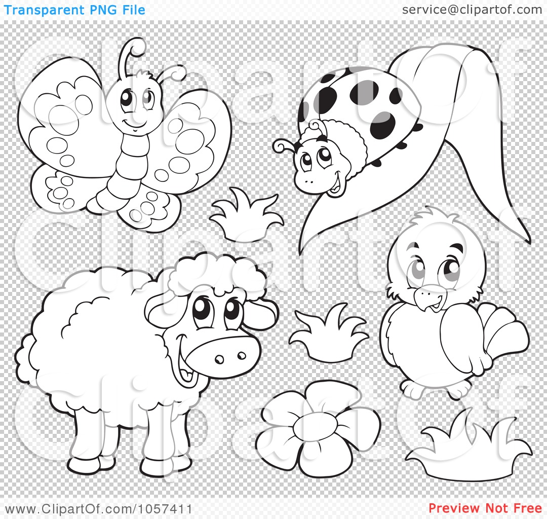 Royalty Free Vector Clip Art Illustration Of A Coloring Page Outline Of A Butterfly Ladybug