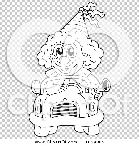 Royalty Free Vector Clip Art Illustration Of A Coloring Page Outline Clown Driving Car By Visekart 1059885