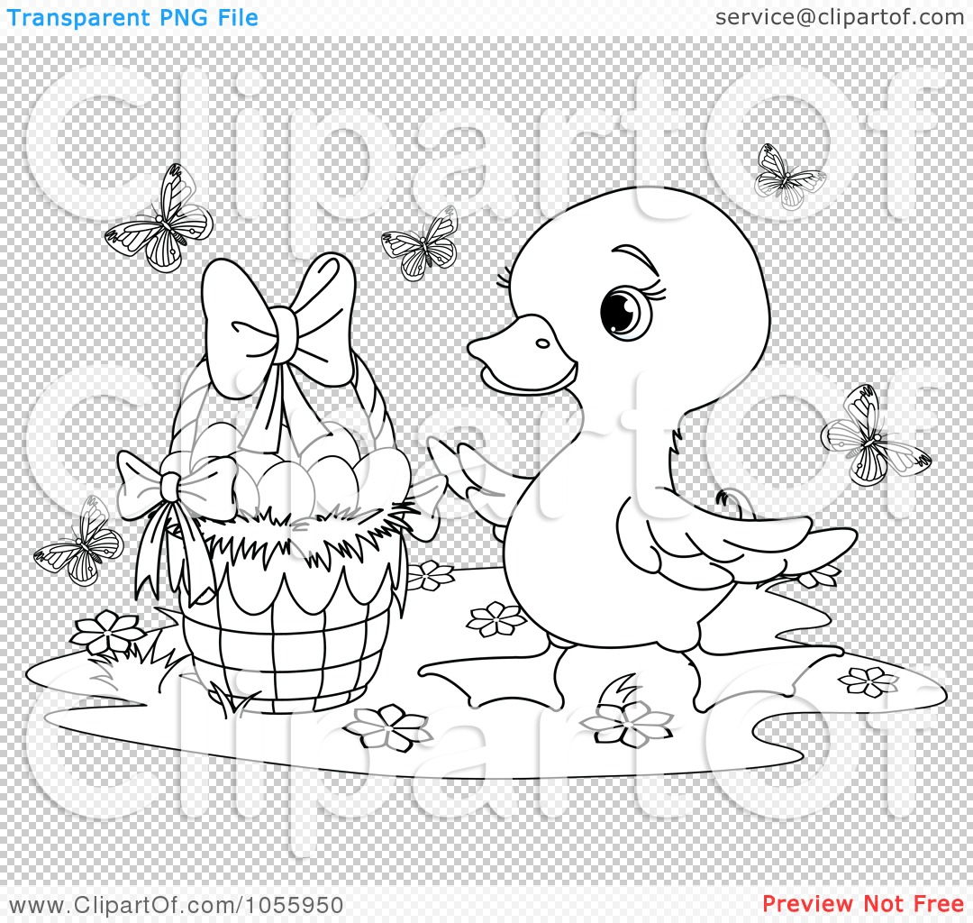 90 Easter Basket Coloring Page Royalty Free Clip Art