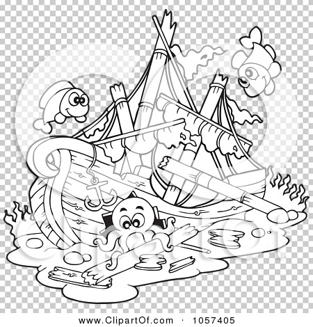 royalty free vector clip art illustration of a coloring page outline of a sunken ship by visekart 1057405