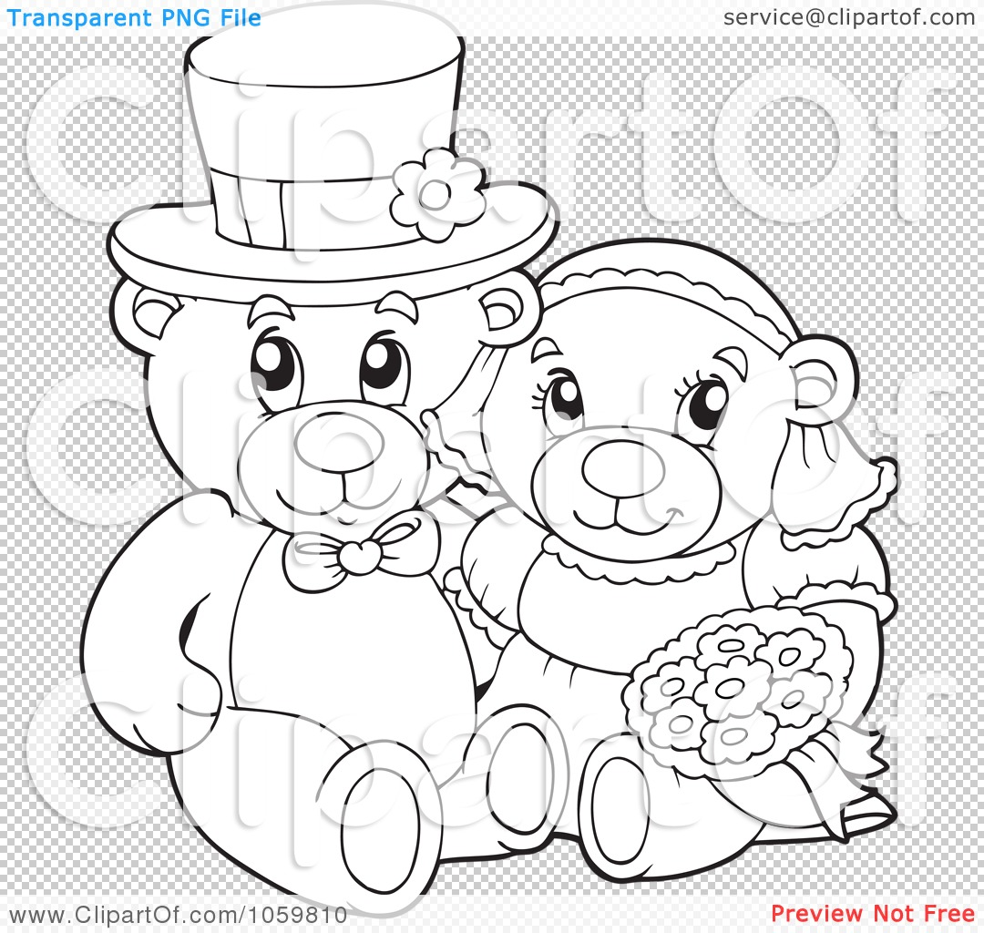 Wedding Outline: Royalty-Free Vector Clip Art Illustration Of A Coloring