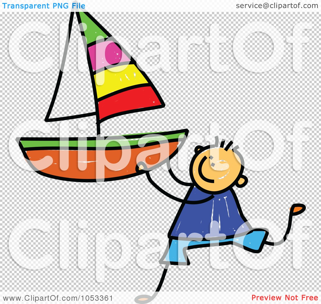 Royalty-Free Vector Clip Art Illustration of a Doodle Boy Holding .
