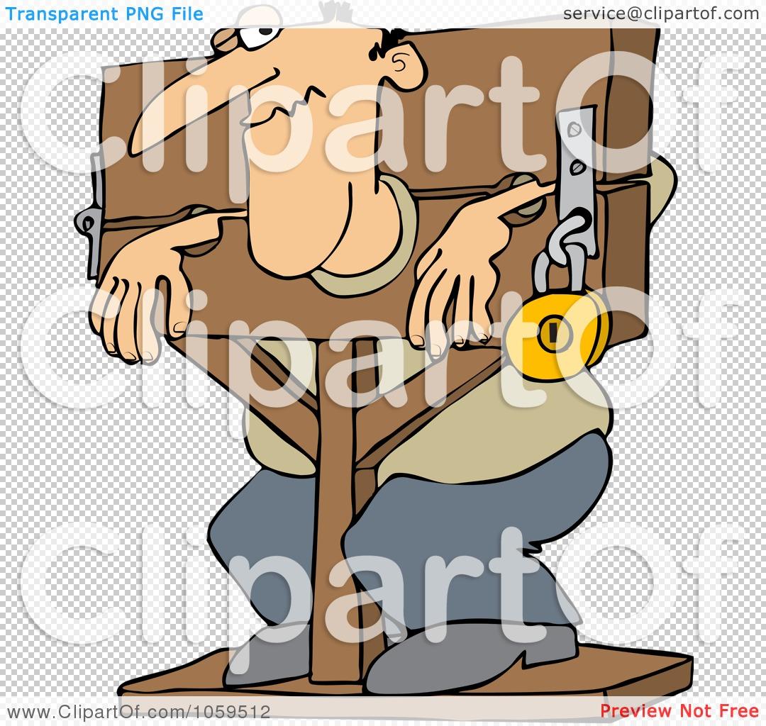 Royalty-Free Vector Clip Art Illustration of a Man Locked In ...