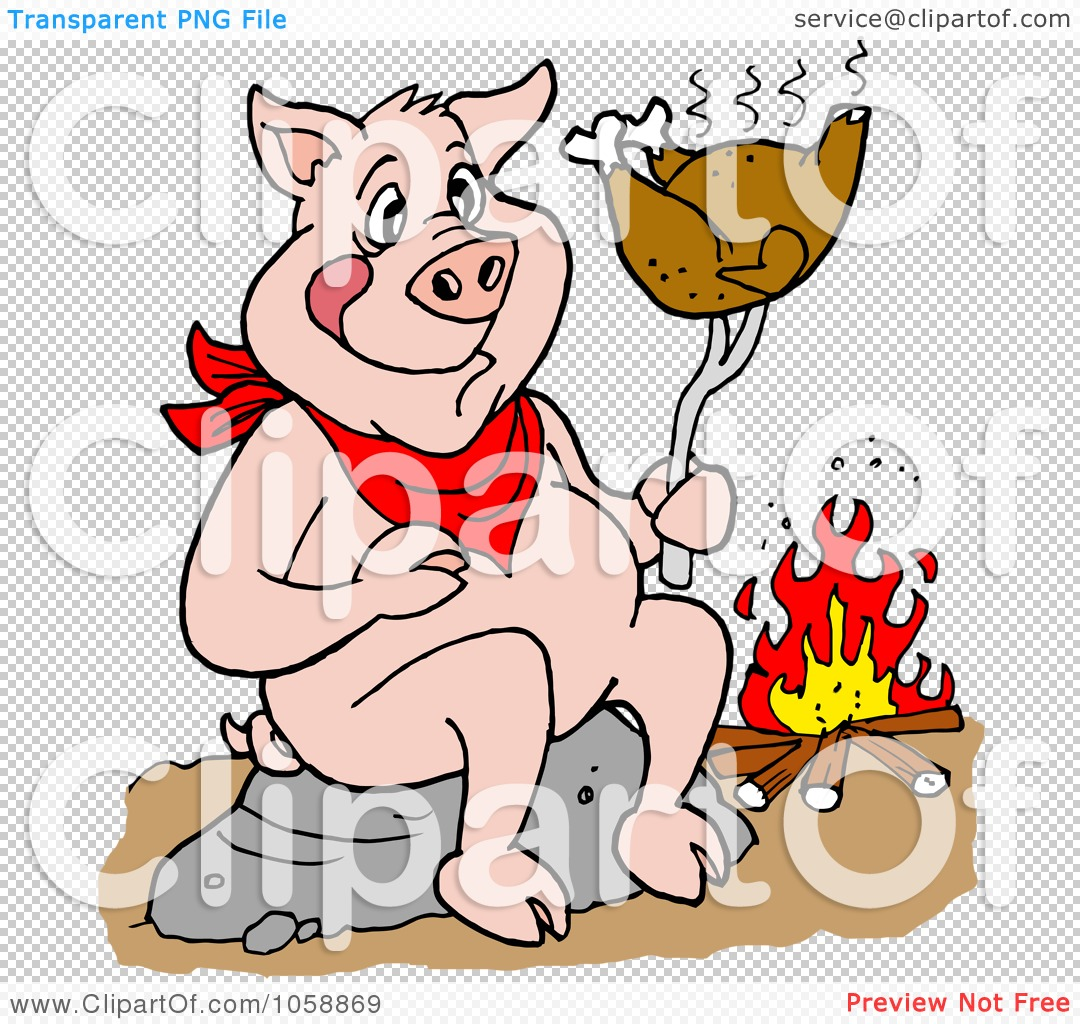 Royalty-Free Vector Clip Art Illustration of a Pig Roasting A ...