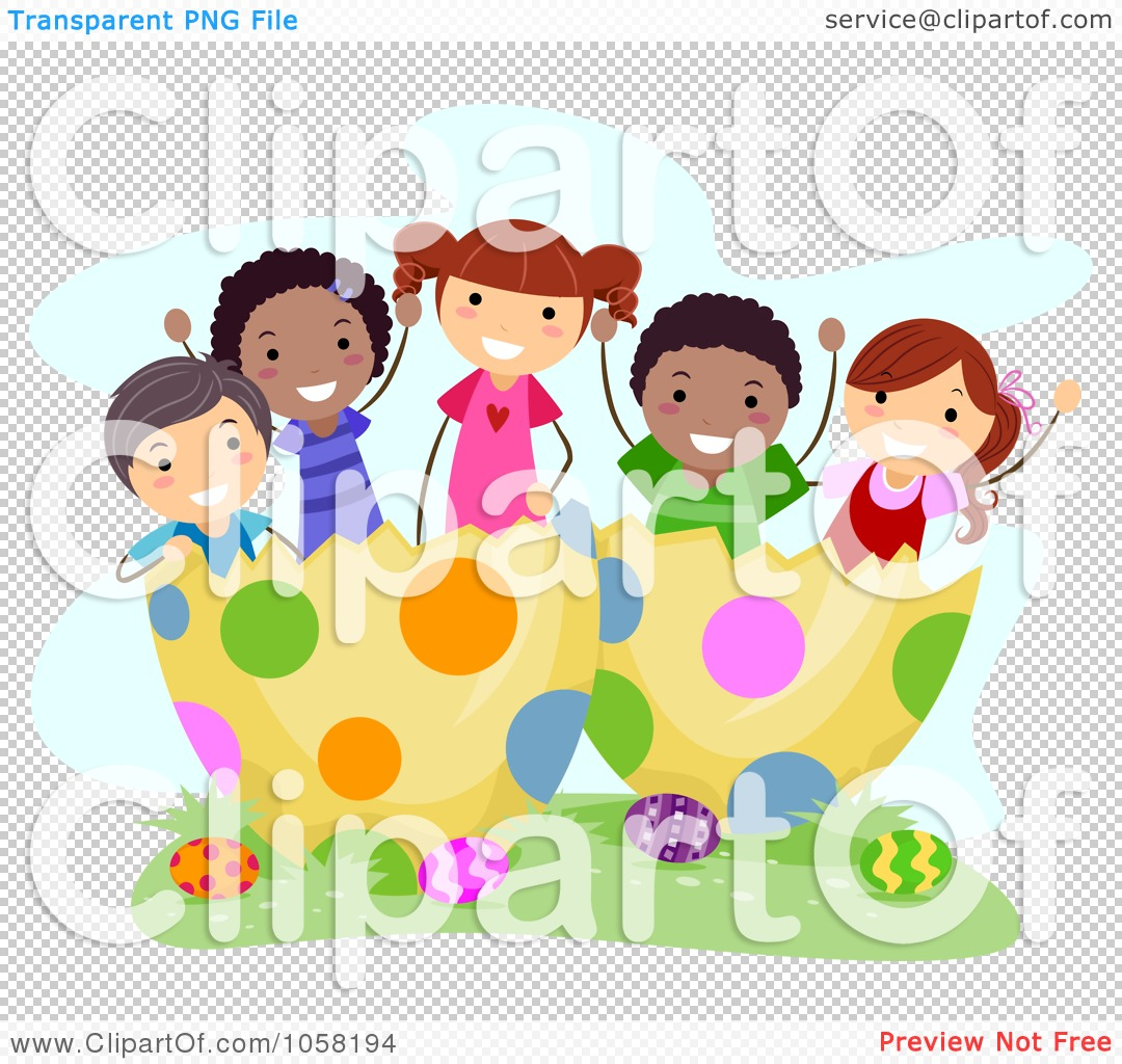 Royalty-Free Vector Clip Art Illustration of Easter Kids In Giant ...