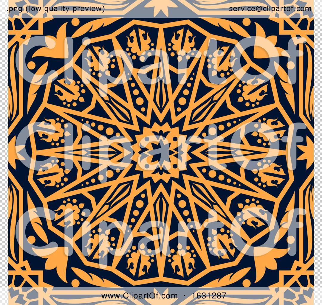 Seamless Orange Arabic Or Islamic Design Background On Navy