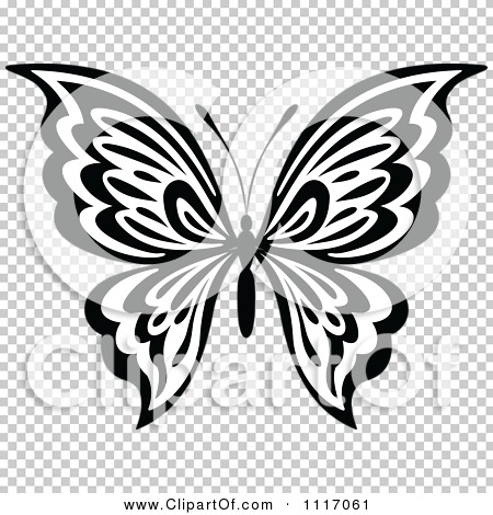 Vector Clipart Black And White Butterfly 6 - Royalty Free Graphic ...